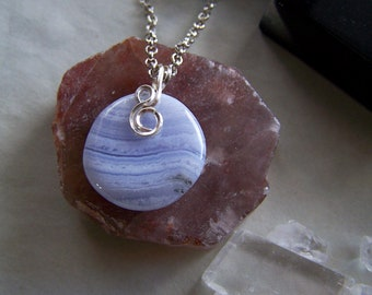 Blue Lace Agate Polished Natural Gemstone Pendant