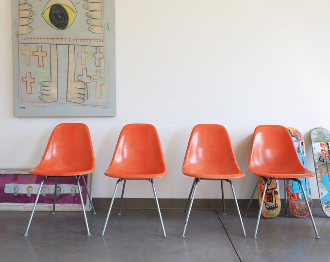 Featured listing image: Set of 4, Orange Eames Shell Chairs with H Base for Herman Miller