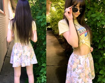 Eco Mini SKIRT, Size S/M, boho clothing, hippie clothing,festival skirt, shabby floral skirt, folk skirt, floral mini skirt,  Zasra
