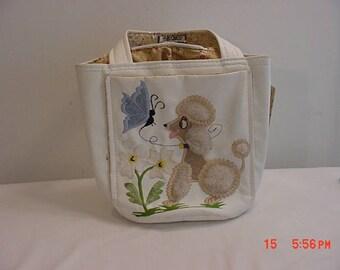 Vintage Fluffy Poodle & Butterfly Hand Bag  17 - 977