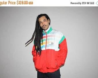 On SALE 35% Off - 1980s Designer Sergio Tacchini Sportswear Rainbow Colorblock Windbreaker - 80s Clothing - MV0056