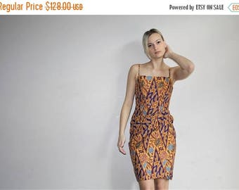 On SALE 35% Off - Batik Cotton 1950s Bombshell Novelty Print Border Print Vintage 50s Pinup Wiggle Dress - Fifties Dresses - 50s Clothing -