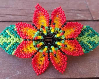 Huichol Art Beaded Red Colorful Flower Hair Clip