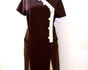 Vintage 60s 70s Brown Day Dress - Dark Brown and Beige Scooter Dress - Short Sleeve Brown Dress - Size Large to X Large estimated