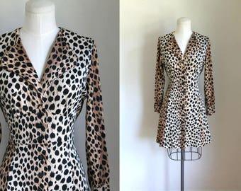 vintage 1960s leopard dress - WILD CAT animal print mini dress / S