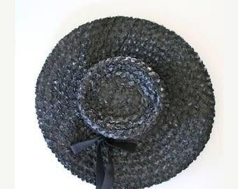 AWAY SALE 20% off vintage 1960s straw hat - VALERIE black straw wide brimmed hat