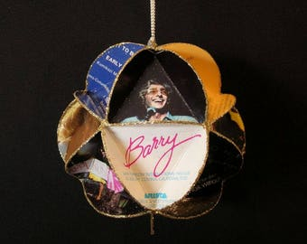 Barry Manilow Ornament Made From Album Covers - Repurposed Record Jackets