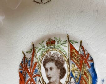 Antique Souvenir Queen Elizabeth 1953 Coronation Saucer Alfred Meakin England