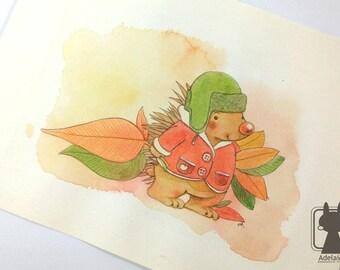 Hedgehog nursery wall art - original watercolor painting - children room decor - autumn leaves fall decor