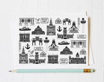 Liverpool Greeting Card - Liverpool Blank Card - Liverpool Print - Liverpool Artwork - Liverpool Skyline