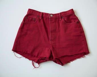 90s Red Levi's High Waist Denim Jean Cut Off Shorts M 29-30