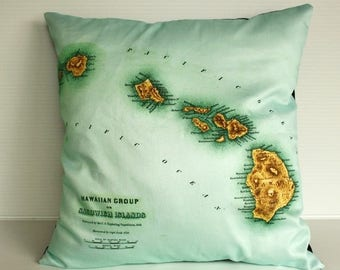SALE SALE SALE Pillow cover, map cushion, pillow, eco friendly Organic cotton vintage map of Hawaii, 16 inch pillow 41cm