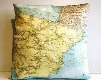 SALE SALE SALE Vintage map print pillow Spain / organic cotton/ cushion cover/ pillow cover/ 16 inch, 41cms