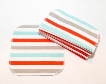 Red and Blue Stripe Cloth Wipes - Baby Wipes - Flannel  Wipes - Eco Friendly Napkins - Reusable Wash Cloth - 2 Ply - 10 Count