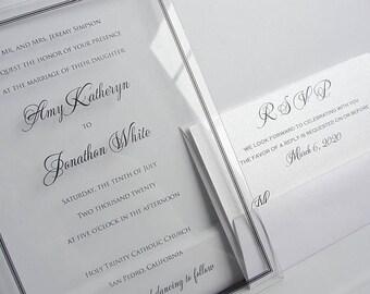 Acrylic Wedding Invitation Clear Lucite Invite Unique