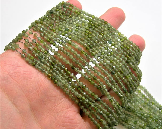 Green Apatite - 3mm faceted round beads - 1 full strand - 140 beads - AA Quality - PG88