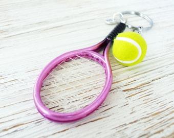 Personalized initial tennis ball keychain gift for her-Pink tennis keychain for tennis team gift-Custom tennis racket keyring for tennis fan