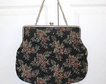 SALE 1950s Tapestry Handbag . Vintage 50s Black Floral Design Top Handle Bag . Tapestry Purse Sequins & Glitter