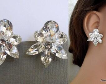 Swarovski Crystal Bridal Earrings stud Wedding Earrings Bridal stud earrings Rhinestone earrings Statement Earrings crystal earrings NICOLE