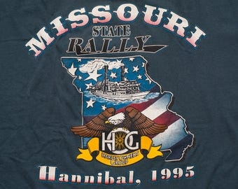 Harley-Davidson HOG State Rally T-Shirt, 1995 Missouri Owners Group, Vintage 90s, Motorcycles, Biker Graphic Tee, Hannibal, M/L