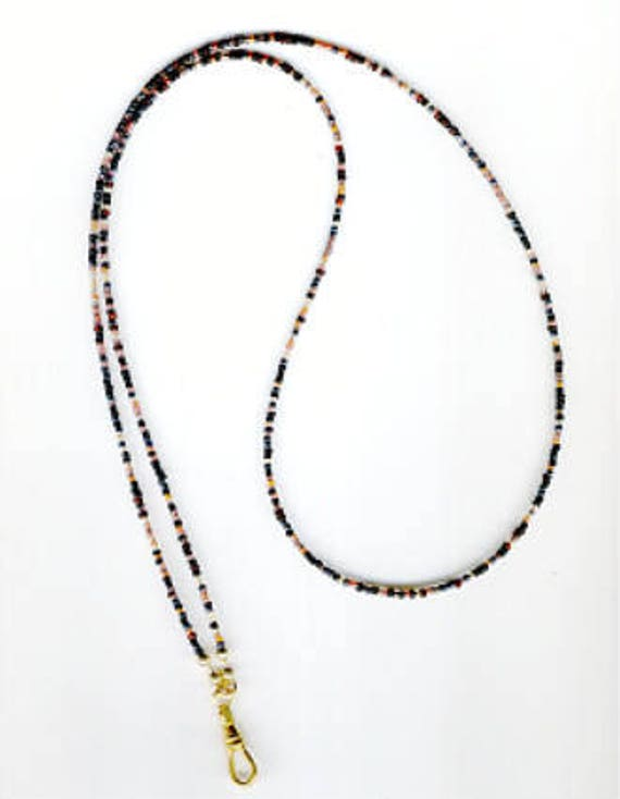 Simple Yet Chic Seedbeads in Black, Browns, Taupe & Grays ID Badge Lanyard or Eyeglass Chain