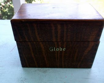 Vintage Globe Wooden Recipe Box with dividers dove-tailed wood box with attached lid retro kitchen