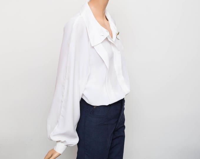 80's wite blouse NOS Vintage Size L
