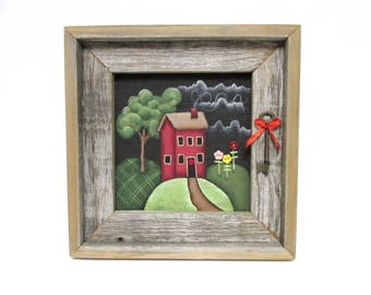Barn Wood Framed Folk Art Red House, Black Key with Red Ribbon, Framed in Reclaimed Wood, Green Tree, Colorful Flowers, Hand or Tole Painted
