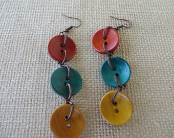 Tri Colored Wooden Button Dangling Statement Earrings