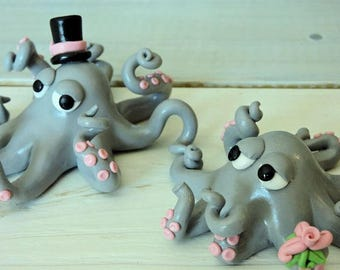 Octopus Couple Wedding Cake Topper