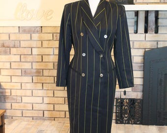 Vintage Tahari Tuxedo Style Suit Dress, Fitted Dress, Suit Coat, 1990's, Shoulder Pads, Working Woman, Pimp Dress, Mobster Dress