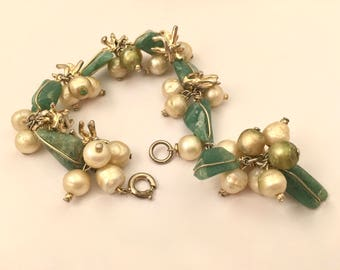 Marvella Vintage Jewelry Pearls Agate Beaded Cha Cha Bracelet