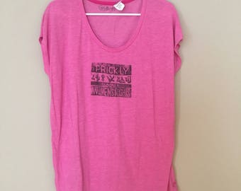 Prickly about Women's Rights, pink t-shirt, hand printed, linoleum block print, planned parenthood
