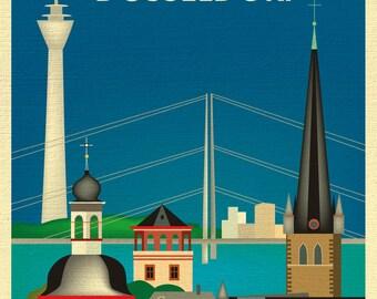 Dusseldorf Skyline Print, Dusseldorf Germany art, Dusseldorf Print, Dusseldorf Baby Art, Dusseldorf Art, Dusseldorf Print, style E8-O-DUS