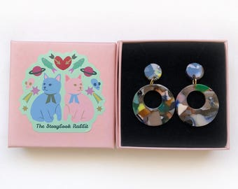 Small Marbled Dangle Stud Earrings - Marbled 50's Round Dangles -Confetti