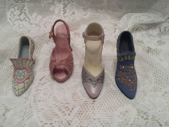 Miniature Shoe Collection - Collectible Mini Shoes - Mini Resin Shoe Reproductions - Set of 4 As Shown