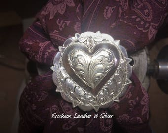 """1 1/2"""" Sterling silver Bright cut engraved Scarf slide."""