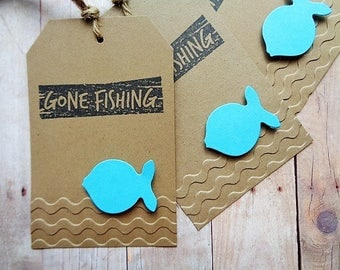 Gone Fishing Birthday Party Favor Tags Kid's Party Fish Tag Retirement