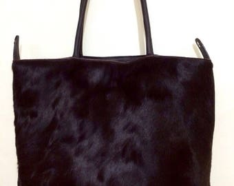 Black Half Cowhide Half Black Leather Bag