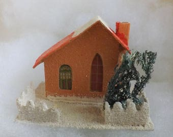 On Sale Vintage large Putz style cardboard house mica made in Japan orange with red roof with fence and tree