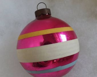 On Sale Vintage Christmas ornament pink ornament blue white and yellow striped ornament stripe