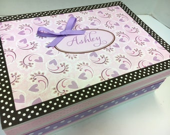 Pink and lavender Heart Keepsake Box
