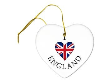 I Heart England Flag of United Kingdom UK Britain on a Ceramic Hanging Heart Ornament