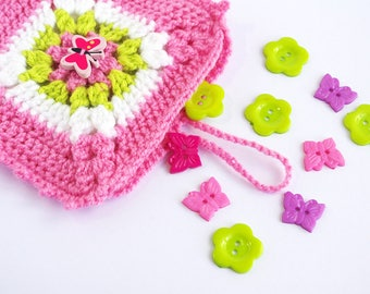 Small Pink Butterfly Bag Candy Pouch - Crochet Purse -Insert Organizer Liner - Wool Handbag Pocket - Make up Holder or  Sanitary pad