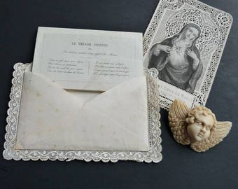 Rare Antique French Marian Confirmation Treasure, offered by RusticGypsyCreations