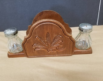 Vintage Wooden Salt and Pepper and Napkin Holder
