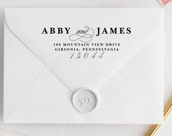 Custom Address Stamp LOVELY SCRIPT with wood handle or self-inking stamp - calligraphy wedding stamp, calligraphy address stamper