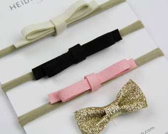 SALE suede gold Hairbow SET of 4  headbands and hairclip Holiday golden new years christmas