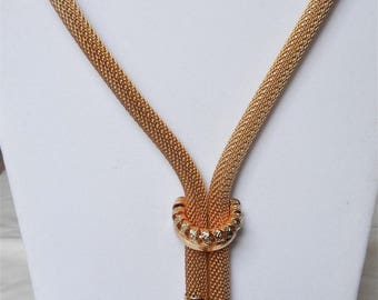 Over the top chunky mesh tube necklace with lavalier drops