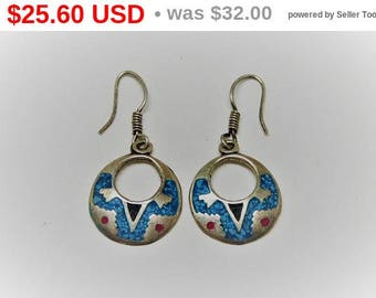 Petite Sterling Silver Earrings for Pierced Ears - Turquoise Tribal Design - Southwestern Jewelry -  Native American Indian - Vintage 1990's
